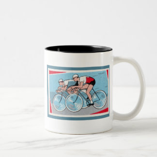 Two Cyclists Vintage Print Two-Tone Coffee Mug