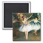 Two Dancers on a Stage by Degas Square Magnet