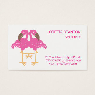 Two dancing flamingos business card