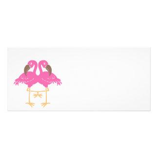 Two dancing flamingos rack card