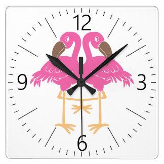 Two dancing flamingos square wall clock