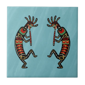 Two Dancing Flute-Playing Kokopelli Figures Ceramic Tiles