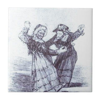 Two Dancing Old Friends by Francisco Goya Tile