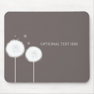 Two Dandelions Taupe Rustic Country Home Mouse Pad