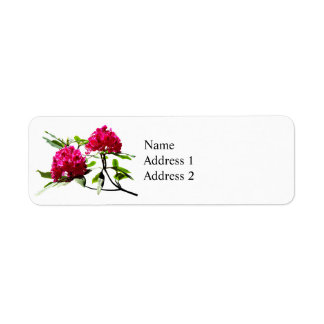 Two Dark Red Rhododendrons Return Address Label