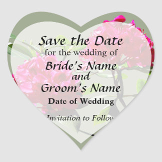 Two Dark Red Rhododendrons Save the Date Heart Sticker