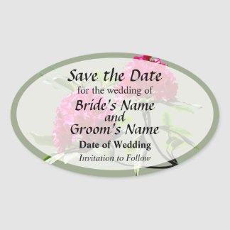 Two Dark Red Rhododendrons Save the Date Oval Sticker