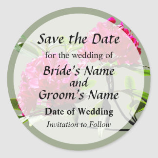 Two Dark Red Rhododendrons Save the Date Round Sticker