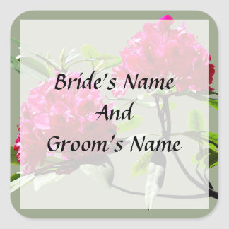 Two Dark Red Rhododendrons Save the Date Square Sticker