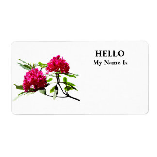 Two Dark Red Rhododendrons Shipping Label