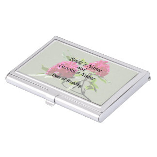 Two Dark Red Rhododendrons Wedding Products Business Card Holder