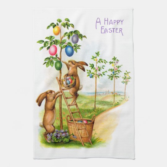 Two Decorating Rabbits Kitchen Towels