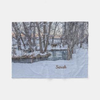 Two Deer in the Woods at Sunset in Winter Fleece Blanket