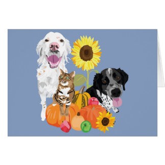 Two dogs and a cat in a pumpkin patch card
