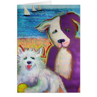 Two dogs by the sea card