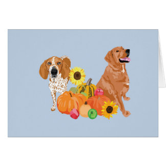Two dogs in autumn card