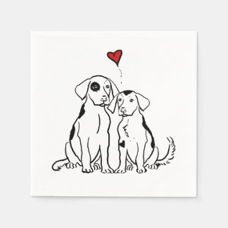 Two Dogs Puppy Love Paper Napkin