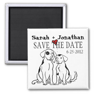 Two Dogs Puppy Love Save The Date Magnet