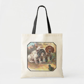 Two Dogs talking to a Frog Tote Bag