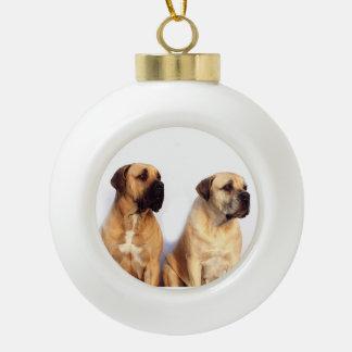 Two Dogue de Bordeaux Dog White Christmas Ornament