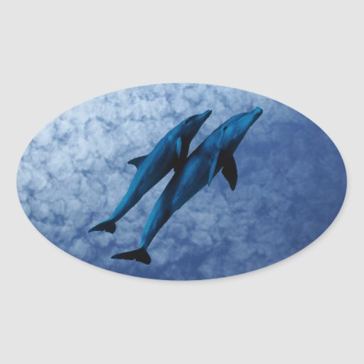 Two Dolphins Swiming at Sea Stickers