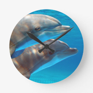 Two Dolphins swimming Wall Clock