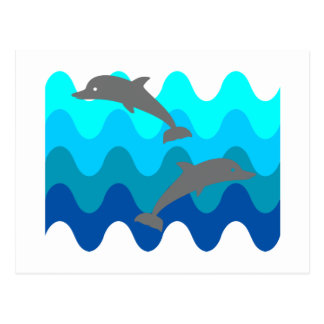 Two Dolphins With 4-Color Stylized Waves Postcard