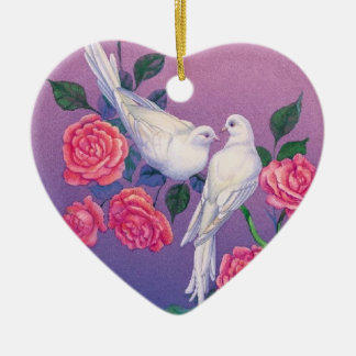 Two doves and flowers on a heart ceramic ornament