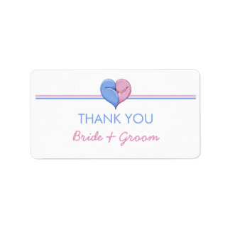 Two Doves One Heart Thank You Sticker Address Label