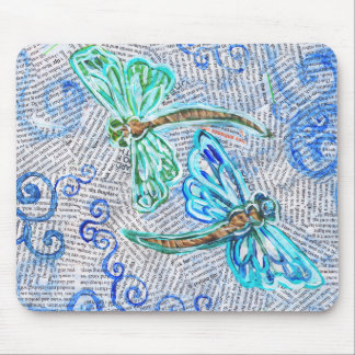 Two Dragonflies on recycled text Mouse Pad