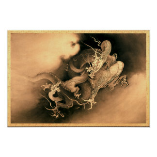 Two Dragons in Clouds by Kanō Hōgai (1885) Poster