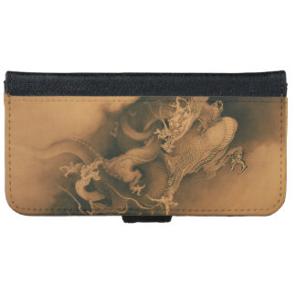 Two Dragons in Clouds Vintage iPhone 6 Wallet Case