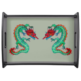 Two Dragons on Serving Tray