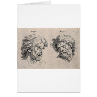 Two Drawings of Angry Faces Card
