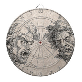 Two Drawings of Angry Faces Dartboard With Darts