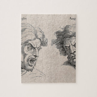 Two Drawings of Angry Faces Jigsaw Puzzle