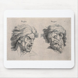 Two Drawings of Angry Faces Mouse Pad