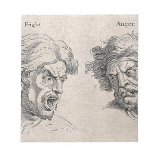 Two Drawings of Angry Faces Notepad