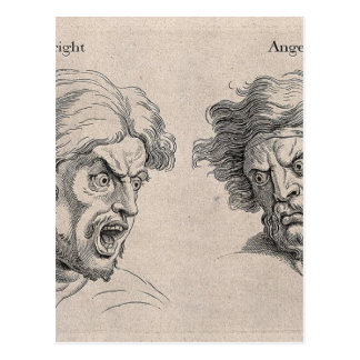 Two Drawings of Angry Faces Postcard