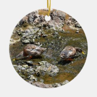 Two Ducks Ceramic Ornament
