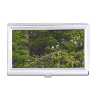Two Eagles Perched Painterly Business Card Holder