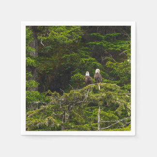 Two Eagles Perched Painterly Disposable Napkin