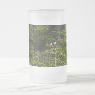 Two Eagles Perched Painterly Frosted Glass Beer Mug