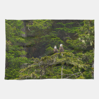 Two Eagles Perched Painterly Kitchen Towel