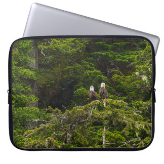 Two Eagles Perched Painterly Laptop Computer Sleeve
