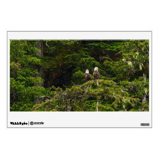 Two Eagles Perched Painterly Wall Decal
