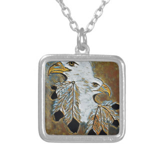 Two Eagles Silver Plated Necklace
