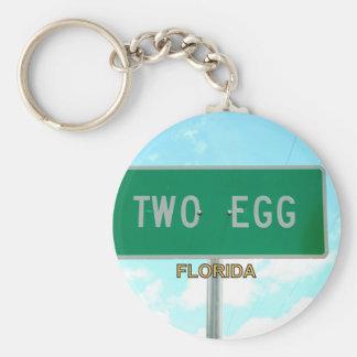 TWO EGG, FLORIDA BASIC ROUND BUTTON KEYCHAIN