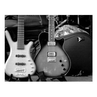TWO ELECTRIC GUITARS - BLACK & WHITE POSTCARD
