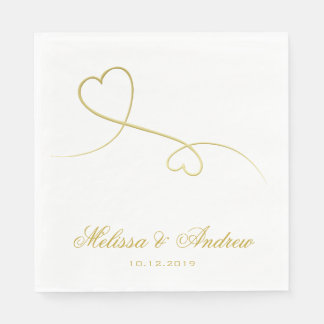 Two Elegant Gold Hearts | Personalized Wedding Disposable Napkins